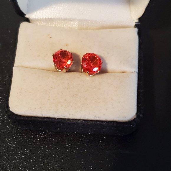 Gold Tone Pink Topaz Stud Earrings Elegant Women